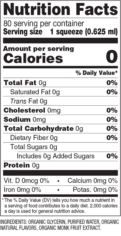 French Vanilla Monk Fruit Organic Sweetener Nutrition Facts
