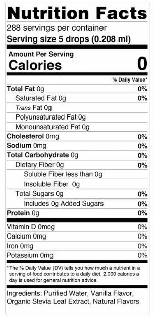 SweetLeaf Vanilla Creme Nutrition Facts